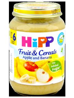 ХИПП Пюре из зерновых с фруктами, Яблоко и Банан (4 месяца)