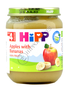 HIPP Piure de fructe, Mere cu banane (4 luni)