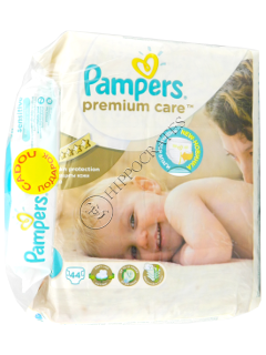 Pampers Junior 5 Premium Care № 44 11-18kg + Pampers Baby Sensitive servetele umede № 56