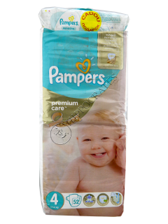 Pampers Maxi 4 Premium Care № 52 7-14kg + Pampers Baby Sensitive servetele umede № 56