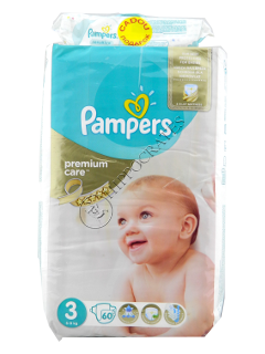 Pampers Midi 3 Premium Care № 60 4-9kg + Pampers Baby Sensitive servetele umede № 56