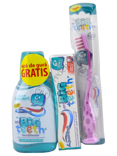 Pasta de dinti pt.copii Aquafresh Big Teeth (6 ani+) 50 ml + periuta de dinti + apa de gura 300 ml