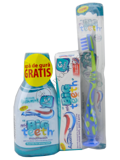 Apa de gura p/copii Aquafresh Big Teeth + Per de dinti + Pasta de dinti