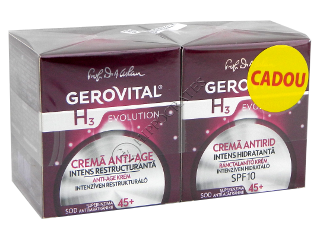 Gerovital H3 Evolution Pachet Promo Anti age (45+)crema intens rest.50 ml+antirid intens hidr.SPF10