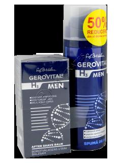 Gerovital H3 Men Pachet Promo balsam dupa ras 50ml+spuma de ras, 200 ml