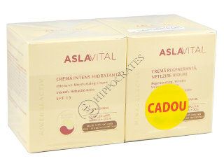 Aslavital Mineralactiv Pachet Promo crema intens hidratanta SPF 15+crema netezire riduri
