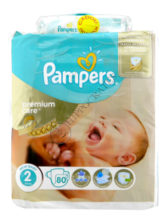 Pampers Mini 2 Premium Care № 80 3-6kg  + Pampers Baby Sensitive servetele umede № 56