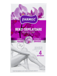 Farmec benzi depilatoare p/u corp extract de orhidee 14 benzi+2 servetele