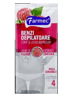 Фармек депиляционные полоски для тела и области бикини с экстрактом малины
