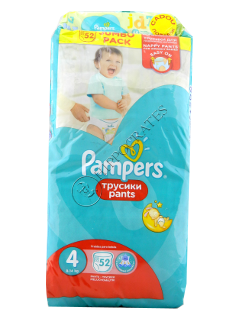 Pampers Pants 4 № 52 9-14kg chilotei + Pampers Baby Naturally Clean servetele umede № 64