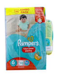 Pampers Pants 6 № 44 16+kg chilotei + Pampers Baby Naturally Clean servetele umede № 64