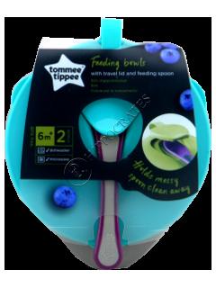 ТТ Набор Тарелочка глубокая с крышкой и ложечкой.(7+) 2 шт(бирюзовый+фиолетовый)/44671841