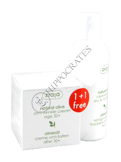 Ziaja Natural Olive. Crema antirid cu extract natural de masline (30+) 50 ml+Lapte demachiant 200ml