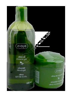 Зиажа Natural Olive гель для душа для нормальной и сухой кожи 500 мл + масло для тела 200 мл